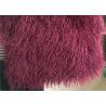 China Wine Color Small Sheepskin Throw , Long Hair Windproof Tibetan Lamb Fur Pelts  wholesale
