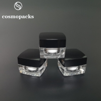 China 5g 10g 15g 30g Gold / Black Lids Clear Square Cream Jars Cosmetic Packaging wholesale