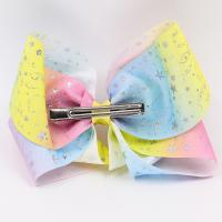 China Large Size Hair Bow Ribbon Double Face Type Glitter Color With Clips wholesale