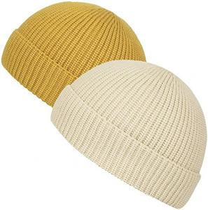 China Yellow Acrylic Plain Knit Beanie Hats With Short Brim Adult Size wholesale