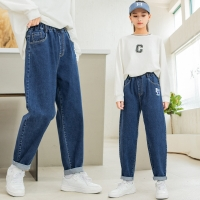 China 55% Flax 45% Cotton Girls Spring Pants Thin Loose Casual Knickerbockers wholesale