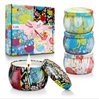 China Custom Retro Patterns Travel Metal Jar Scented Candle Tin Candle Gift Sets wholesale