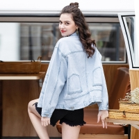 China Spring Summer Sequin Nail Bead Loose Denim Jacket For Women wholesale