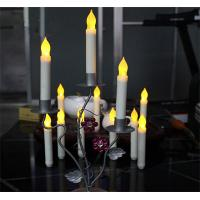 China 12pcs Yellow Light Flickering LED Taper Candles White Realistic Wax Drip LED Taper Candles on sale