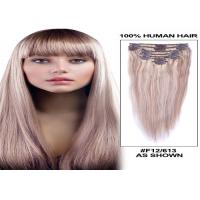 Straight Human Hair Clip On Hair Extensions Tangle Free 120g 8 Pieces / Bundle
