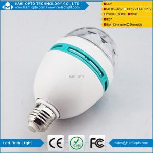China LED RGB Full Color Rotating Lamp Crystal DJ Party Stage Light Bulb AC85-265V,E27 wholesale