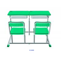 China Mint Green Student Desk And Chair Set HDPE Iron Adjustable School Furniture wholesale