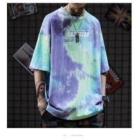 China Colorfull Green Tie Dye Men Streetwear T Shirts 130gsm-230gsm Worsted Fabric streetwear clothing manufacturers wholesale