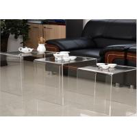 China Modern Design Acrylic Tea Table , Transparency Plexiglass Display Case Three Set Coffee Desk on sale
