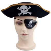 China Decorative Black Halloween Pirate Hat , Unique Funky Festival Hats Skull Patterned wholesale