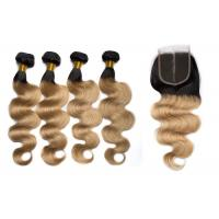 Buy cheap 1B / 27 Color Body Wave Hair Bundles With Closure Can Be Bleached And Dyed from wholesalers