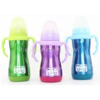 China Fluorescence Color Stainless Steel Baby Bottle 180ml / 240ml Wide Mouth wholesale