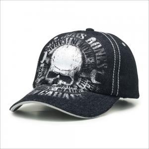 China Skull Print Curved Brim Baseball Hat 56cm 60cm Custom Caps For Adults wholesale