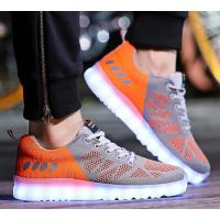 China Grey + Orange Light Up Tennis Shoes , Safe Led Light Up Shoes For Adults on sale