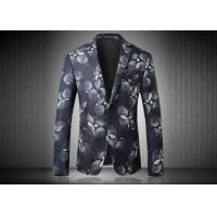 Buy cheap Two Buttons Mens Floral Printed Suit Jackets Polyester Sublimation Back Vent from wholesalers