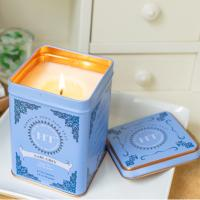 China Home Bar Decoration Scented Tin Candles With Metal Lids Hand Painted Glassware wholesale