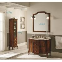 China Waterproof Solid Wood Transitional Bathroom Vanities With Left Or Right Side Cabinet wholesale
