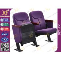 China Triangle Armrest Short Back Rest Auditorium Church Chairs With Folding Soft Padded Seat wholesale