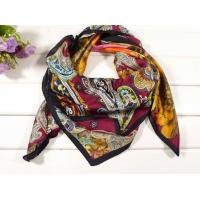 China Ladies 2013 Fashion 100% silk big/large Square Silk Scarf/red and purple flower carves for women wholesale
