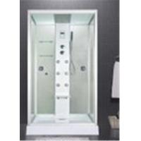 China Custom Made Glass Shower Cabin 2 Sided Glass Shower Enclosure With Brass Jets wholesale