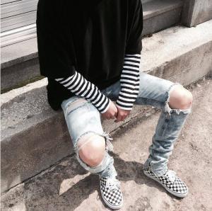China Spandex Cotton Street Ripped Skinny Pants Plus Size Denim Carrot Jeans wholesale