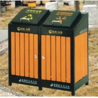 China Powder Coated Outdoor Site Amenities / Commercial Trash Cans With Double Drums wholesale