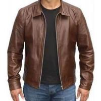China Windproof special and charming brown Fleece Lined Leather jacket for men wholesale
