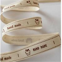 China 38MM Width Printed Cotton Ribbon Creamy White Color Single Face Printing wholesale