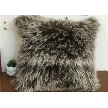 China Tibetan Lambswool Pillow Cover Natural Long Haired Mongolian Lamb Fur Pillow wholesale