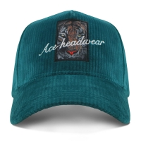 China Corduroy 5 Panel Baseball Cap With Self Strap Sublimation Patch wholesale