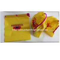 Yellow Color Pvc Custom Plastic Drawstring Bags For Cosmetic / Daily Necessities / Clothes