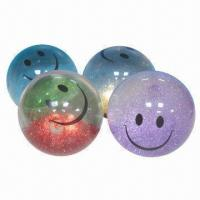 bouncing ball, made of tpu and glitter, sized 10cm