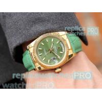 China Best Quality Replica Rolex Day-Date Green Dial Green Leather Strap Watch wholesale