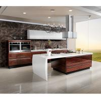 China Marble Countertop Closeout Wood Veneer Kitchen Cabinets , Rosewood Kitchen Cupboards wholesale