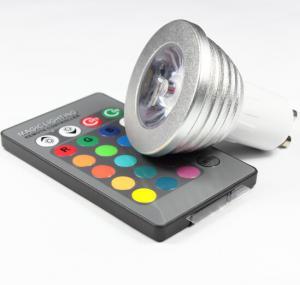 China 3W RGB LED COB Spotlights bulbs RGB led remote controller lathe aluminum housing GU10 E27 wholesale