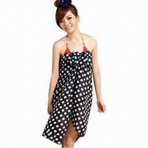 China Polka Dot Fashion Sarong Swimwear, Made of Chiffon, OEM Orders are Welcome on sale