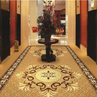 China Brown Flower PVC Carpet Flooring / Corridor Wilton Patterned Carpets wholesale