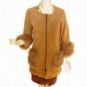China 2013 Ladies' New Fashion Round Neck Pig Split Baby Lamb Fur Trimming Coat on sale