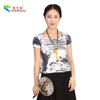 Buy cheap Chinese Culture Pattern Womens Casual Blouses T Shirt For Summer Beach Garden from wholesalers