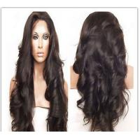 China Natural Black Curly Human Hair Wigs / Unprocessed Virgin 100% Cambodian Full Lace Wig wholesale