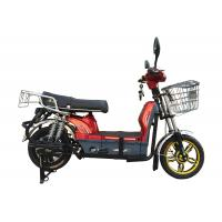 China 450W Adult Electric Bicycle Red Battery Operated Bikes With Motorcyle Seat Steel Frame wholesale