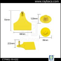 China TPU Material Rfid Sheep Tags / Electronic Ear Tags For Sheep Yellow Color wholesale