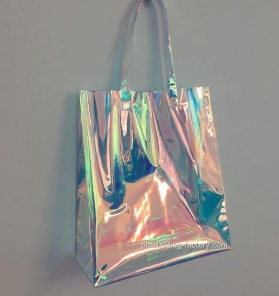 Quality Rainbow Laser Hologram Travel Cosmetic Handbag Rainbow Laser PVC Tote Bag Rainbow Laser Shoulder Bag for sale