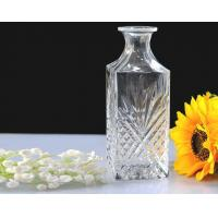China Superior embossed clear Glass Wine Bottles with cork lid , Machine made on sale