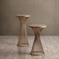 """Buy cheap Industrial Setting Solid Wood End Tables , 24"""" Pedestal Dark Wood Side Table from wholesalers"""