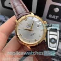 Buy cheap High Quality Omega De Ville Replica Watch-Brown Leather Strap Yellow Gold Bezel from wholesalers