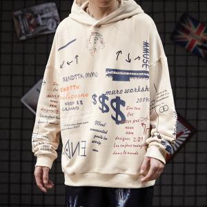 China Ins Geometric Graffiti Men'S Hooded Sweaters High Street Rap Harajuku Style Sweatshirt wholesale