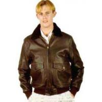 China Mens Aviation Men's Navy Leather Jacket wholesale