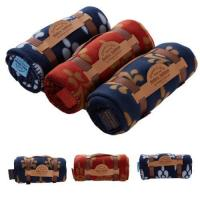 China Custom 100% Polyester Polar Fleece Travel Blanket with Embroidered Logo wholesale