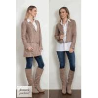 China Simply Noelle suede jacket zipper convertible long to short Oyster, Cocoa, or black Size S to XXL wholesale